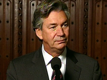 New ambassador to the U.S. Gary Doer speaks to reporters during a press conference from the halls on Parliament Hill, Thursday, Oct. 22, 2009.