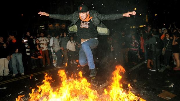 San Francisco Giants fan rowdy celebration bonfire