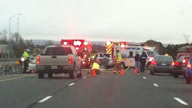 Emergency personnel at the scene of a multi-vehicle crash on Highway 400, near Highway 88, on Monday, Nov. 5, 2012. (Photo courtesy of Scott McEdwards)