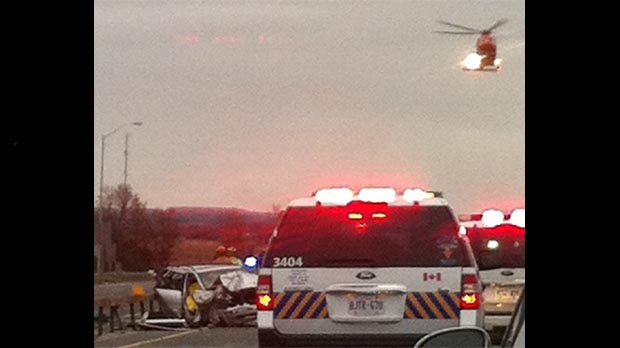 An Ornge air ambulance lands at the scene of a multi-vehicle crash on Highway 400, near Highway 88, on Monday, Nov. 5, 2012. (Photo courtesy of Scott McEdwards)