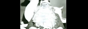 A photo of Santa Claus, taken during a Santa Claus Parade in Toronto during the 1950s.