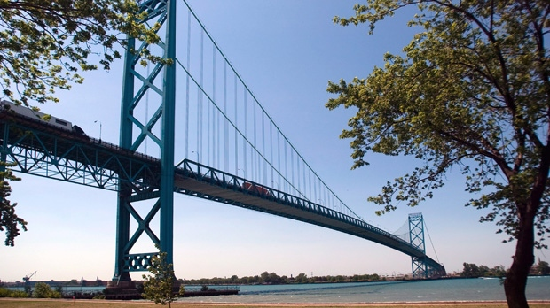 The Ambassador Bridge spans the Detroit River dividing Canada and the U.S. (The Canadian Press/Mark Spowart)