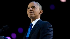 U.S. President Barack Obama wins election speech