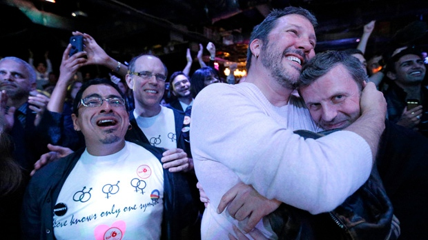 Partygoers react at an election party in Baltimore on Tuesday, Nov. 6, 2012, after voters passed a referendum approving same sex marriage in Maryland. (AP Photo/Patrick Semansky)