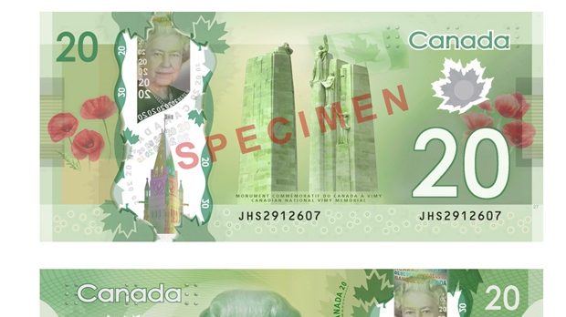 The new Canadian $20 polymer bill is shown in a handout photo. (The Canadian Press/HO-Bank of Canada)