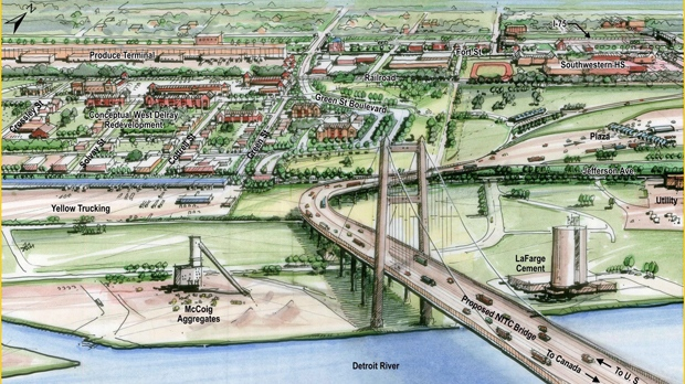In this 2012 artist's rendering, a proposed bridge linking Detroit and Windsor is shown. (Michigan Department of Transportation)