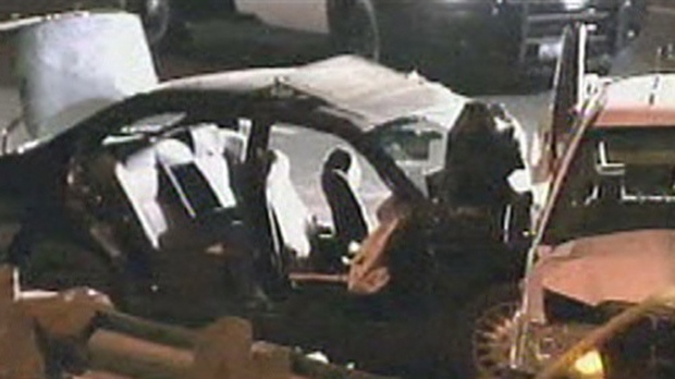 One person was killed and two others were injured in a three-vehicle crash in Mississauga on Wednesday, Nov. 7, 2012.