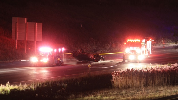 One person was killed in a crash in Highway 427's southbound lanes early Friday, Nov. 9, 2012. (Tom Stefanac/CP24)