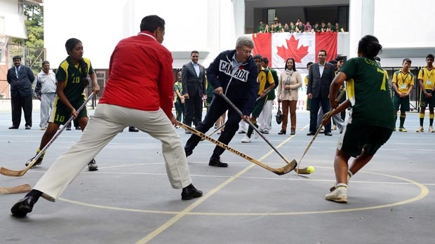 Stephen Harper hockey cricket Bangalore India tour