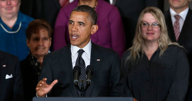 President Barack Obama gestures as he speaks about the economy and the deficit, Friday, Nov. 9, 2012, in the East Room of the White House in Washington. (AP Photo/Carolyn Kaster)