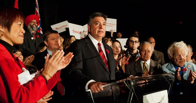 Mississauga South MPP Charles Sousa announces his bid for the leadership of the Ontario Liberal Party in Mississauga on Saturday November 10, 2012. THE CANADIAN PRESS/Aaron Vincent Elkaim