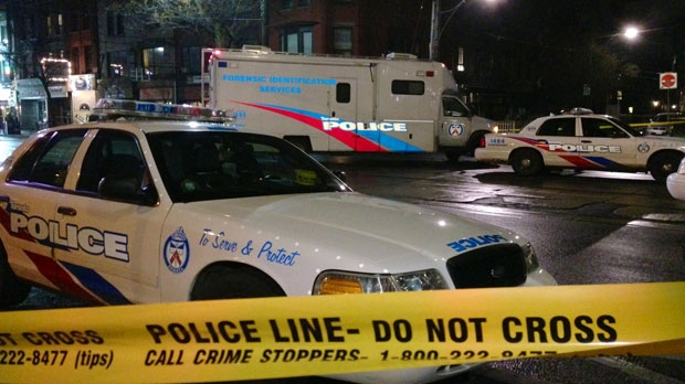 Police tape is shown at the scene of a shooting near College and Lippincott streets early Sunday morning. (Tom Podolec/CP24.com)
