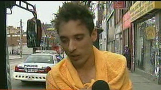 In this screen grab, Pawel speaks to CP24 after he rescued his roommate from a fire on Queen Street West on Monday, Nov. 12, 2012.