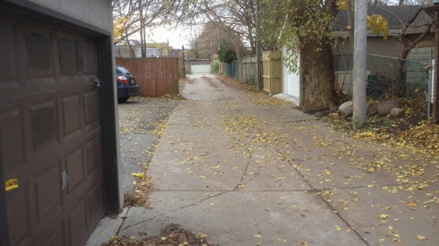 Toronto police say a 16-year-old girl was dragged into an alley near Broadview and Mortimer avenues and sexually assaulted Monday, Nov. 12, 2012. (Cam Woolley/CP24)