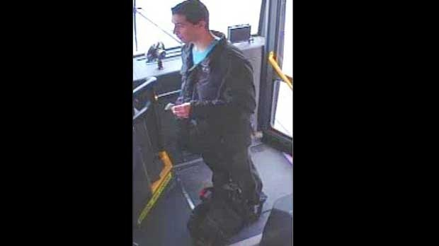 This photo, taken from a security camera inside a TTC bus, shows a suspect wanted in connection with a violent sex assault inside a house in the Lawrence Avenue and Avenue Road area. (Photo courtesy Toronto Police)