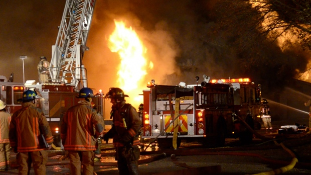 Firefighters battled a massive warehouse blaze in Hamilton early Wednesday, Nov. 14, 2012. (Andrew Collins/CP24)
