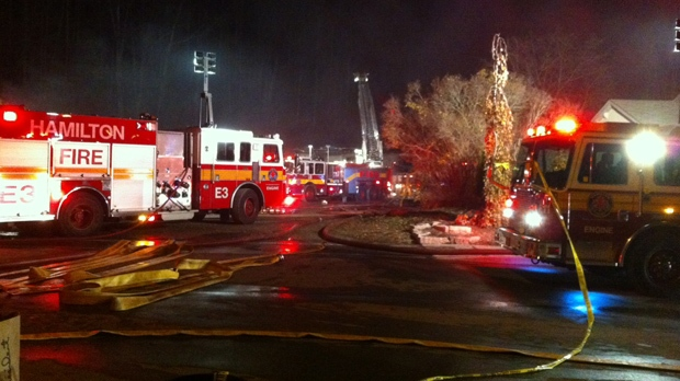 Firefighters battled a massive warehouse blaze in Hamilton early Wednesday, Nov. 14, 2012. (Tom Stefanac/CP24)