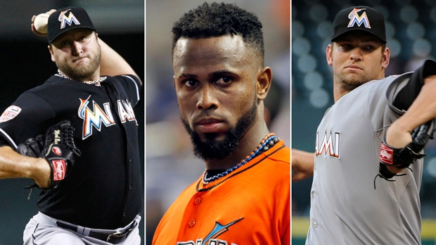 This photo combo made from file photos shows, from left, pitcher Mark Buehrle, shortstop Jose Reyes, and pitcher Josh Johnson. (AP Photos)
