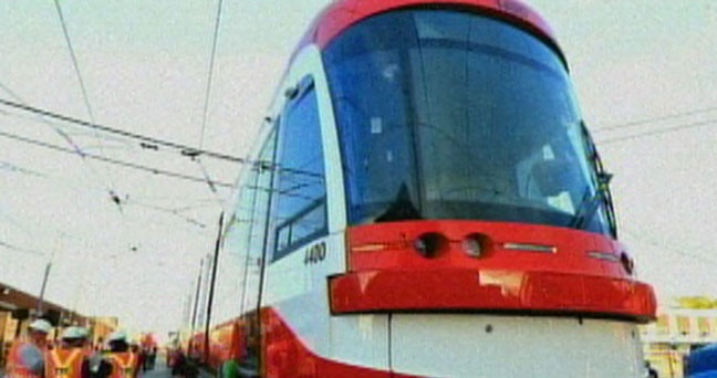 One of the new TTC streetcars is shown in this file photo. A total of 204 new streetcars have been ordered at a cost of $1.19 billion. (CP24)