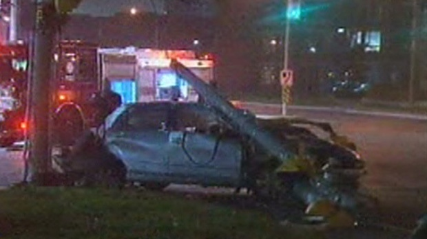 Two women were injured when a car crashed into a light standard at Broadview and Eastern avenues early Tuesday, Nov. 20, 2012.