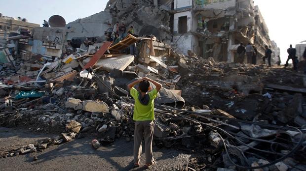 Gaza City Israel rocket explosion blast