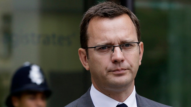 This Thursday, Aug. 16, 2012, file photo shows Andy Coulson after appearing in Westminster Magistrates Court on phone hacking charges in London. (AP Photo/Kirsty Wigglesworth, File)