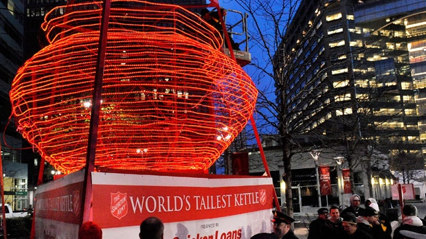 "The Salvation Army's self-described ""World's Largest Kettle"" is set up at Campus Martius park in Detroit on Thursday, Nov. 8, 2012. (AP Photo/Detroit News, David Coates)"