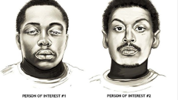 Toronto police released composite sketches of two males who are considered persons of interest in their investigation into a mass shooting on Danzig Street. (Handout)