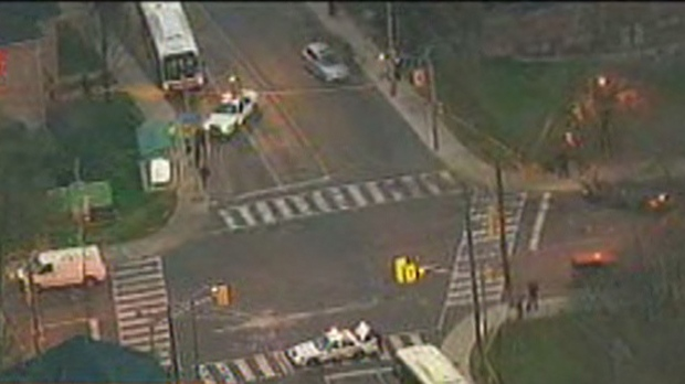 This screen grab from Chopper 24 shows the scene after a cyclist was struck by a vehicle at Lansdowne Avenue and Davenport Road on Friday, Nov. 23, 2012.