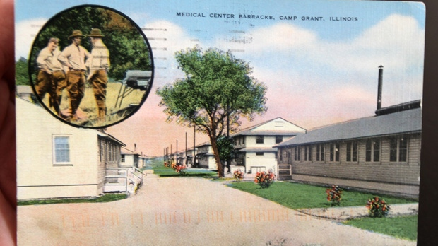This undated photo shows a postcard delivered to an address in Elmira, N.Y., during the week of Nov. 12, 2012.The postcard was originally sent nearly seven decades ago. (AP Photo/The Star-Gazette, Jennifer Kingsley)