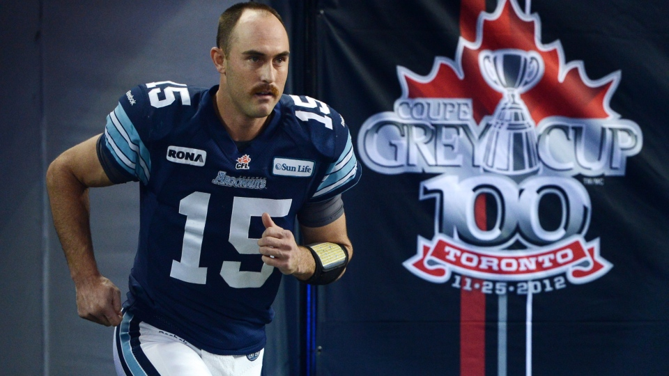 Toronto Argonauts quarterback Ricky Ray runs onto the field before the 100th CFL Grey Cup game between Toronto Argonauts and the Calgary Stampeders Sunday November 25, 2012 in Toronto. (Sean Kilpatrick/ THE CANADIAN PRESS)