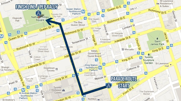 This map shows the route of the Toronto Argonauts' Grey Cup victory parade. (www.argonauts.ca)