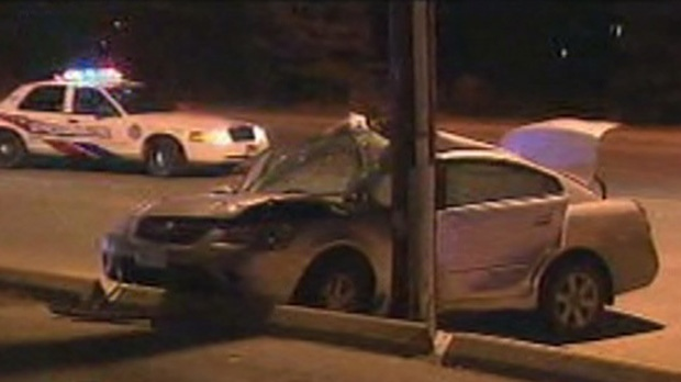 Scarlett Road Lawrence Avenue car crashes pole