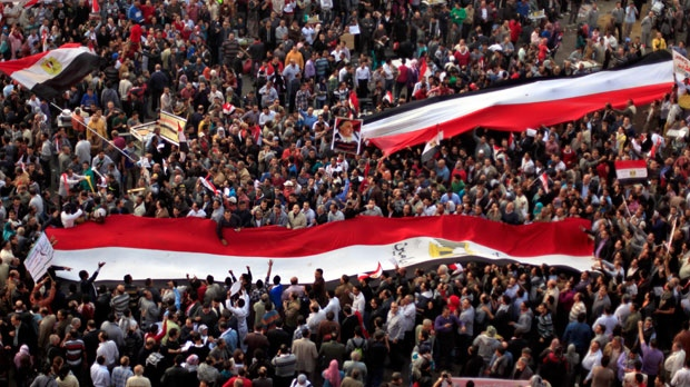 Egyptian protesters in Tahrir Square