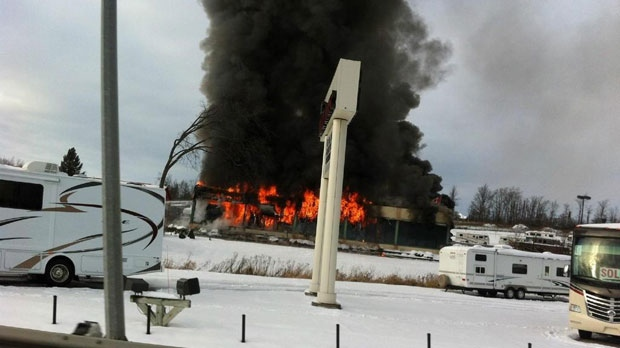 A fire at The Hitch House, located on Highway 11, northeast of Barrie, is seen in this photo taken on Tuesday, Nov. 27, 2012. (Twitter/Julie Rizzardo)