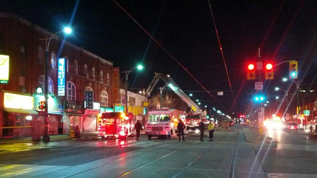 Firefighters at the scene of a blaze on Spadina Avenue early Thursday, Nov. 29, 2012. (Tom Stefanac/CP24)