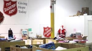 Donations sit in bins at the Salvation Army's Railside Road food and toy distribution centre in Toronto on Wednesday, Nov. 21, 2012. (The Canadian Press/Chris Young)