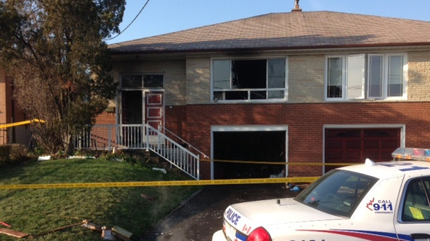 Two people were killed in a fire on Charrington Crescent in Toronto on Thursday, Nov. 29, 2012. (Cam Woolley/CP24)