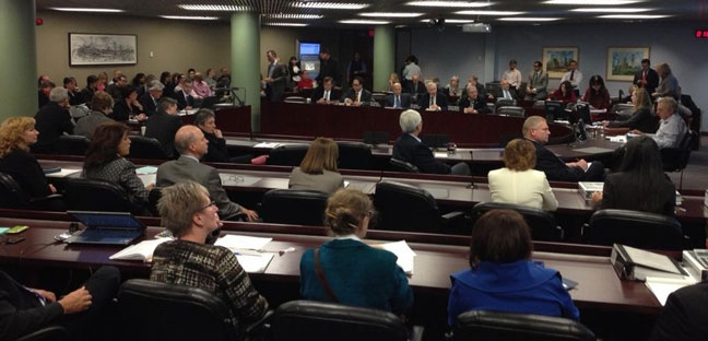Members of the city's budget committee are show during a meeting in this file photo. (Natalie Johnson/CTV)
