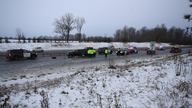 Police investigate a crash in Highway 400's northbound lanes, near Highway 89, on Friday, Nov. 30, 2012. (Tom Stefanac/CP24)