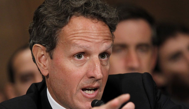 In this July 26, 2012, file photo, Treasury Secretary Timothy Geithner testifies on Capitol Hill in Washington, before the Senate Banking Committee. (AP Photo/Haraz N. Ghanbari, File)