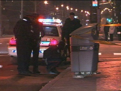 Toronto police probe a fatal shooting at a bar located in the Peanut Plaza in Don Mills early Saturday, November 20, 2010.