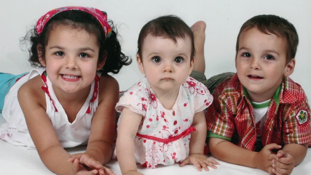 Laurélie, 5, Anaïs, 2, and Loïc Desautels, 4, are shown in a family photo. (The Canadian Press/Handout)