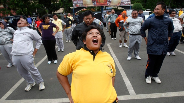 Potbellied Indonesian police ordered to exercise
