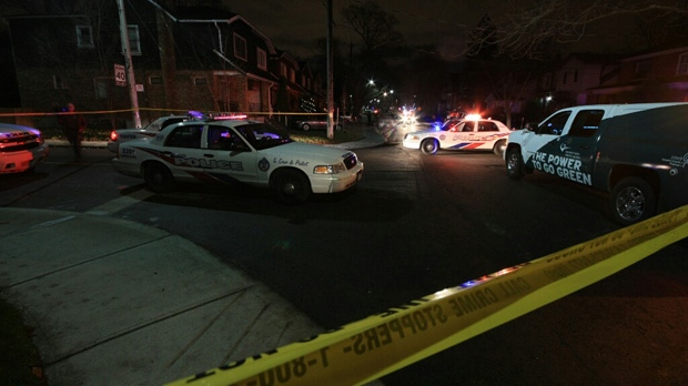 A Toronto police cruiser was damaged during a pursuit that ended on Falcon Street early Wednesday, Dec. 5, 2012. (Tom Stefanac/CP24)