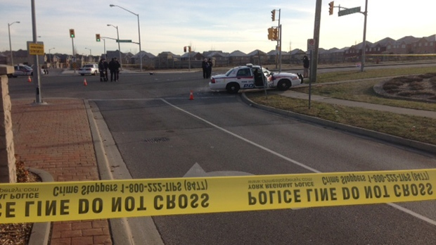 Police investigate a fatal hit-and-run on Dufferin Street in Vaughan on Thursday, Dec. 6, 2012. (Cam Woolley/CP24)