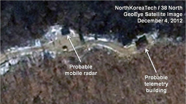 This Tuesday, Dec. 4, 2012, satellite image taken by GeoEye and annotated and distributed by North Korea Tech and 38 North shows the Sohae launching station in Tongchang-ri, North Korea. (AP Photo/GeoEye via North Korea Tech and 38 North)