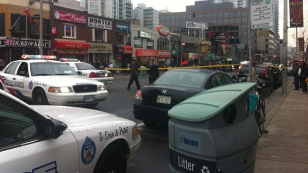 Police cars are shown at the scene of a hit-and-run near Yonge Street and Eglinton Avenue Friday afternoon. (Twitter/David Burkholder)