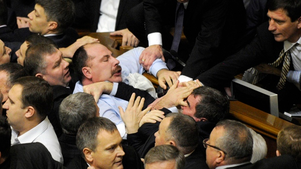 Kiev Ukraine Parliament elects speaker brawl fight