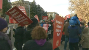 York Region elementary school teachers stage a one day strike to protest Bill 115 Thursday, December, 13, 2012. (CP24)